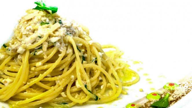 Spaghetto spigola e menta con mandorle tostate - Bistre', Rome