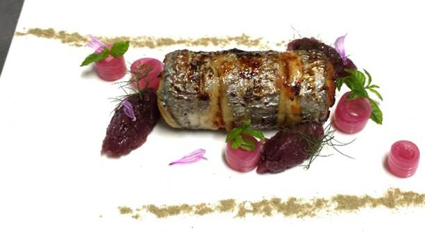 Ristorante San Domenico rotolo di pesce spatola cipolla rossa in agodolce, capperi e arancia