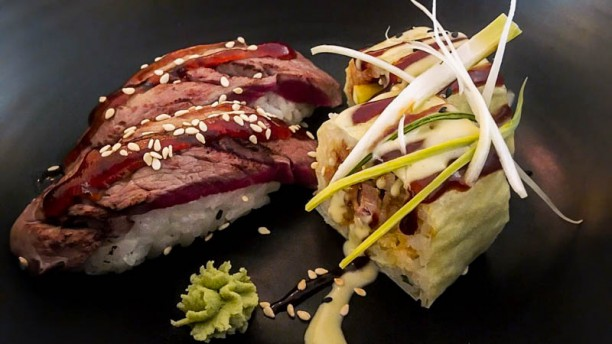 Oriental Green House Beef + Duck sushi combo