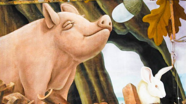 Trattoria Piazzetta maiale annusa la ghianda