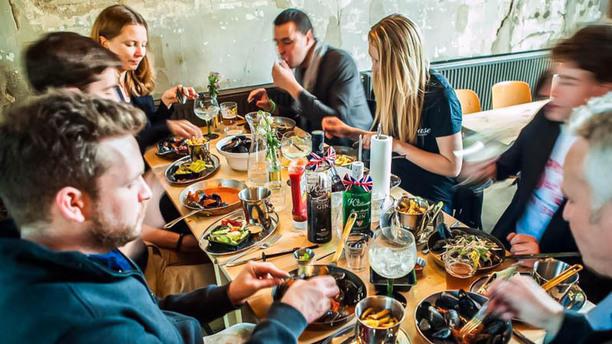 Mossel & Gin Detail van de tafel
