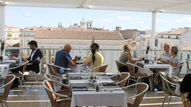 Ciel de Nîmes Vu panoramique du restaurant en été