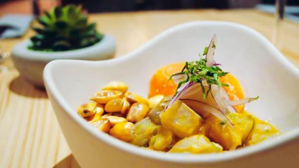 Tendetes Gourmet Ceviche clásico de dorada, boniato, maíz crujiente, cilantro y cebolla morada