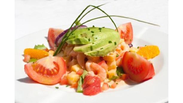 Le Koudou Salade exotique aux crevettes, avocat, pamplemousse et ananas
